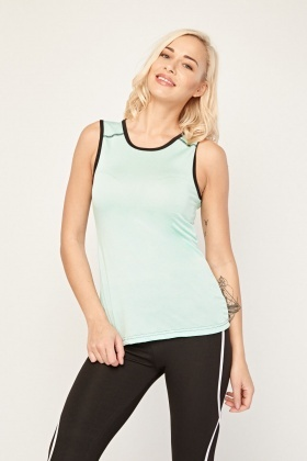Sleeveless Sheer Mesh Sports Top