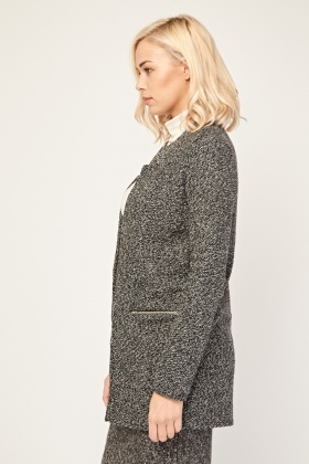 Speckled Open Front Long Blazer