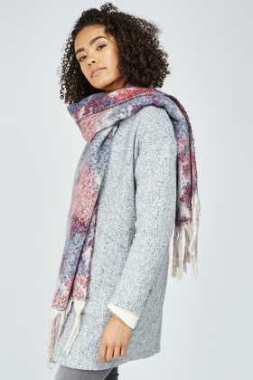 Textured Woven Fringed Scarf
