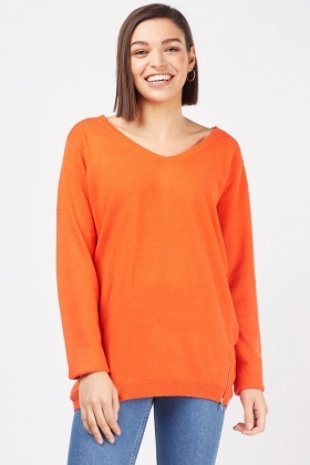 Zipped Hem Knit Sweater