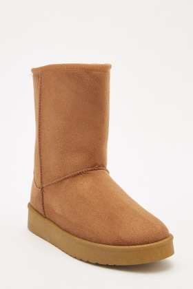 Brown Suedette Winter Boots