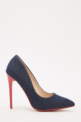 Contrasted Trim Denim Court Heeled Shoes