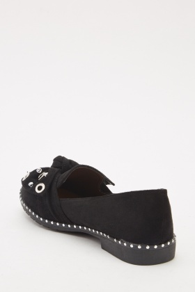 Eyelet Detail Suedette Loafers