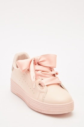 Faux Leather Lace Up Pink Sneakers
