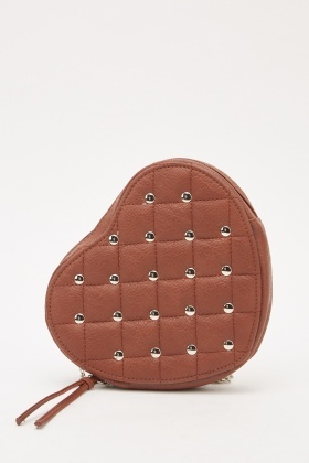 Studded Heart Shaped Quilted Bag