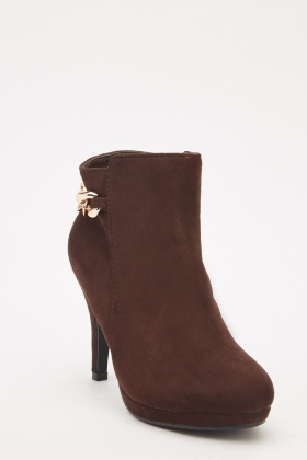 Suedette Chain Back Ankle Boots