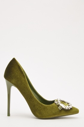 Velveteen Front Detail High Heel Shoes