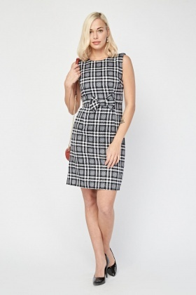 Bow Trim Plaid Shift Dress