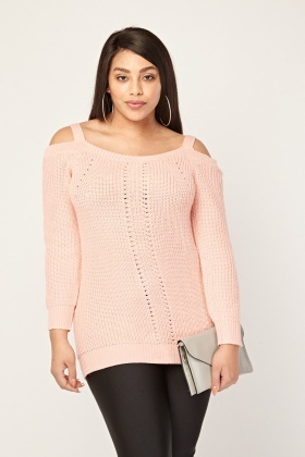 Cold Shoulder Chunky Knit Pink Jumper