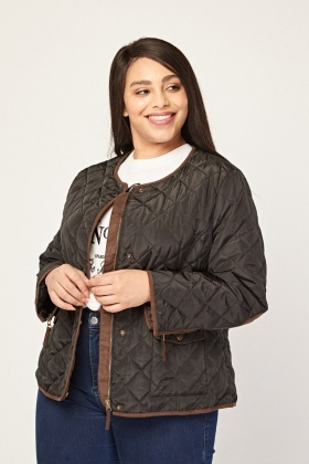 Collarless Diamond Quilted Jacket
