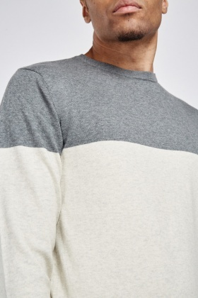 Colour Block Fine Knit Jumper