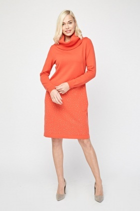 Encrusted Cowl Neck Knit Dress