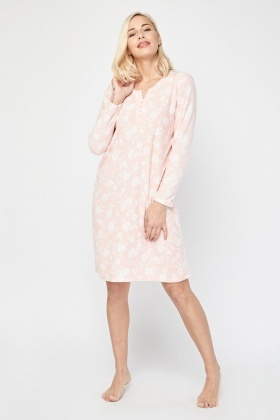 Flower Print Poly-Fleece Nightie