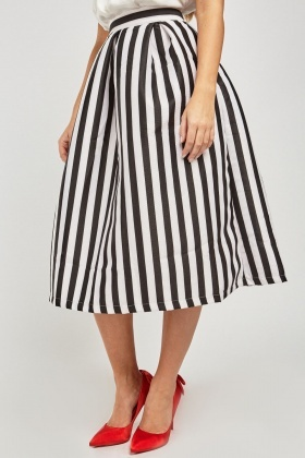 High Waist Striped Midi Skirt