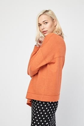 Long Sleeve Orange Knit Pullover