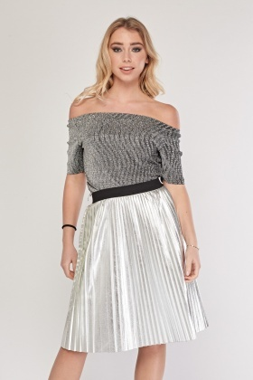Metallic Off Shoulder Knit Top