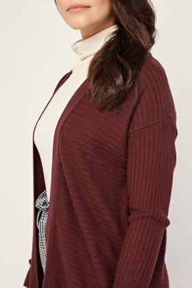 Open Front Ribbed Knit Cardigan