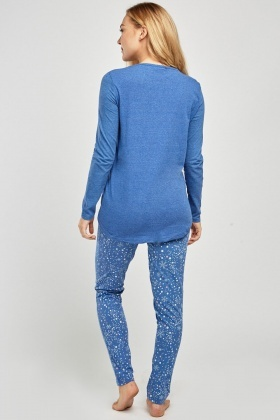 Printed Middle Blue Pyjama Set
