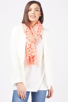 Sequin Cut Out Circle Scarf