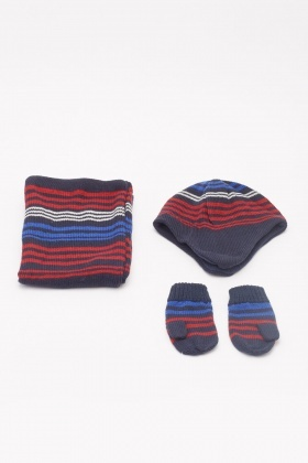 Striped Trapper Hat, Scarf And Mitten Gloves Set