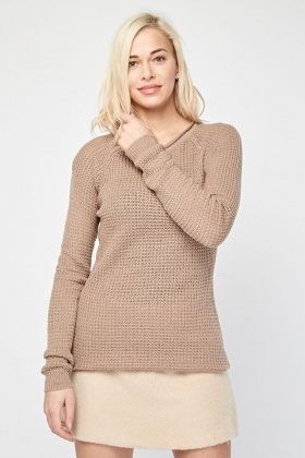 Textured Crew Neck Knit Jumper