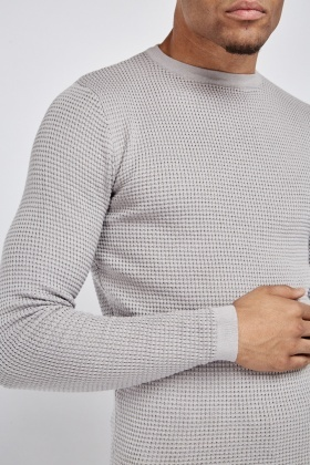 Textured Knit Casual Jumper