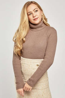 Turtle Neck Ribbed Knit Jumper