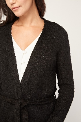Belted Textured Knit Cardigan