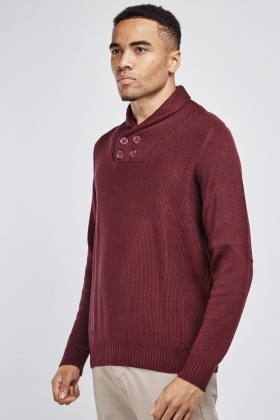 Button Front Mixed Knit Jumper