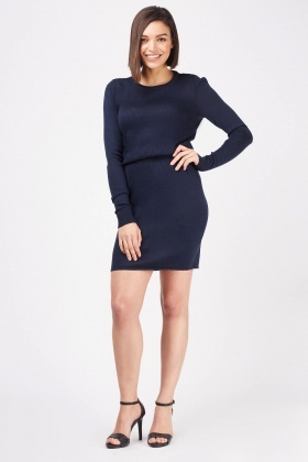 Fine Knit Gathered Waist Dress