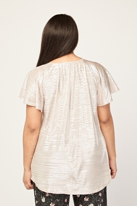 Frilly Metallic Sleeve Plisse Top