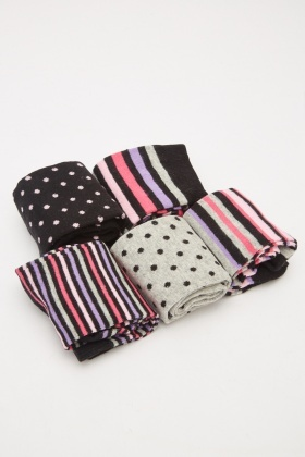 Pack Of 5 Striped Contrasted Socks