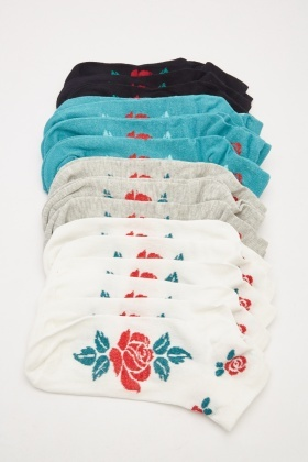 Pack Of 12 Rose Printed Socks
