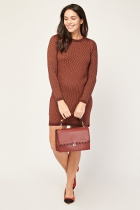 Textured Mini Knit Dress