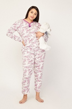 Vintage Flower Printed Pyjama Set