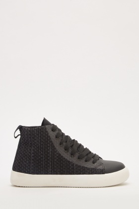 Black Contrasted Lace Up Trainers