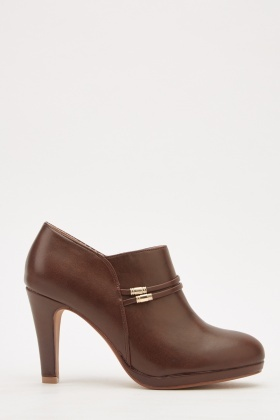 Detail Front Leather Ankle Boots
