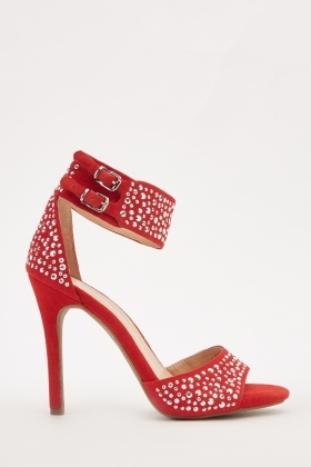 Encrusted Ankle Strap High Heels