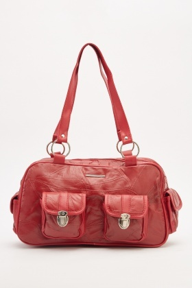 Faux Leather Duffel Bag
