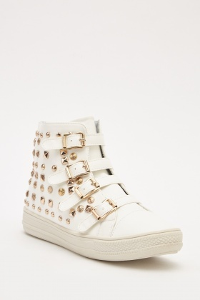 Faux Leather Studded Trainers