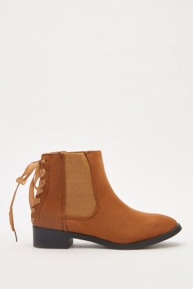 Ribbon Lace Up Chelsea Boots