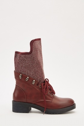 Studded Lace Up Biker Boots