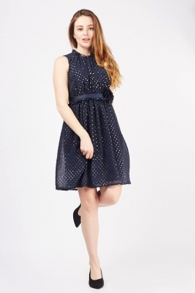 3D Flower Speckled Mini Dress