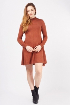 Button Detail Fine Knit Dress