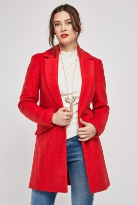 Double Breasted Red Woven Coat