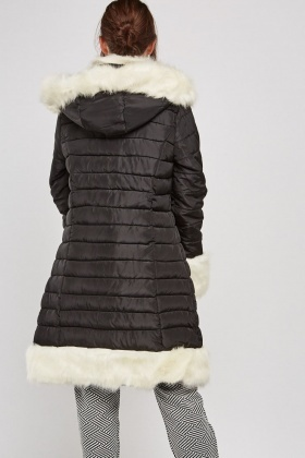 Faux Fur Trim Quilted Coat