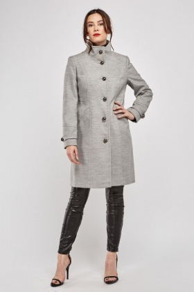 Grey Button Front Military Coat