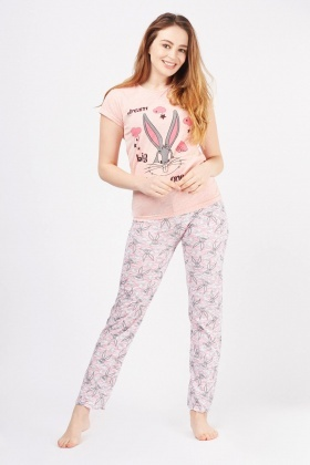 Rabbit Contrasted Print Pyjama Set