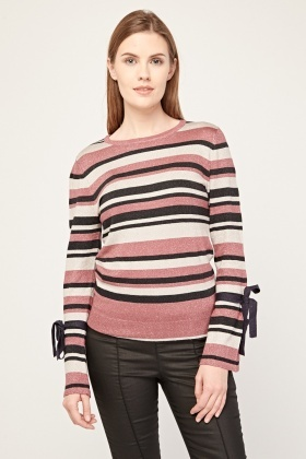 Tie Up Sleeve Metallic Striped Top