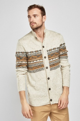 Aztec Pattern Button Up Cardigan